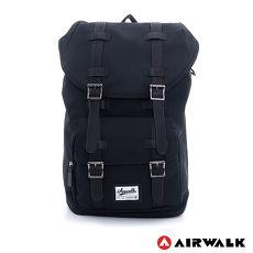 AIRWALK - 文青小子 水洗帆布雙扣蓋束口後背包 - 黑