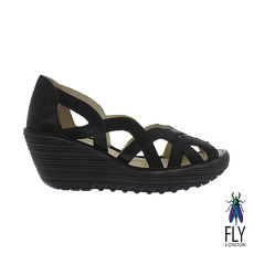 Fly London(女)Yad 鏤空真皮造型楔型高跟鞋 - 黑