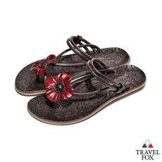 Travel Fox(女) - 俏皮花朵 牛皮三角式裸背旅狐夾腳拖鞋 - 小花紅