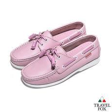 Travel Fox(女) - BABY色調 真皮跳色鞋帶旅狐帆船鞋 - 娃娃粉