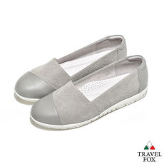 Travel Fox(女) - 极简优雅 双料融合羊皮直套旅狐休闲鞋 - 灰白