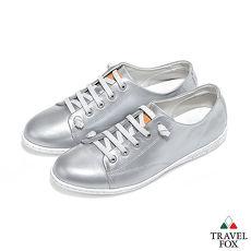 Travel Fox(女) 星光大道 時尚金屬色調免綁帶休閒鞋 - 水星銀