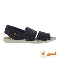 SOFTINOS(女) TAI STYLE 雙寬線牛皮鬆緊帶雙料休閒涼鞋 - 深藍