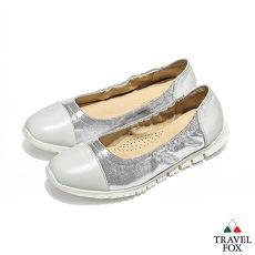 Travel Fox(女) 来自星星的鞋 轻量双料可弯式娃娃鞋 - 闪亮白
