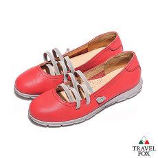 Travel Fox(女) 浅浅的微笑 弹力绑带浅口休闲娃娃鞋 - 邻家红