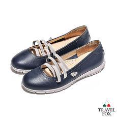 Travel Fox(女) 浅浅的微笑 弹力绑带浅口休闲娃娃鞋 - 可人蓝
