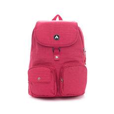 AIRWALK -甜心專用 雙口袋都會休閒後背包-玫瑰紅