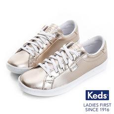 KEDS - ACE 時尚皮革休閒童鞋-玫瑰金