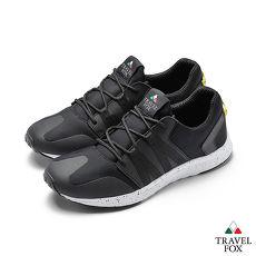 TRAVEL FOX(男)牛皮拼接運動鞋 - 黑