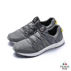 TRAVEL FOX(男)牛皮拼接運動鞋 - 灰