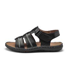 TRAVEL FOX(男) 想念的自在 高足弓牛皮舒適透氣休閒涼鞋- 呼吸黑