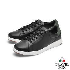 TRAVEL FOX(女) 輕雲系列 超軟牛皮輕量舒適運動鞋 -追月黑