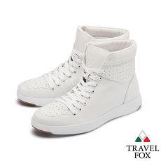 TRAVEL FOX(女)  輕雲系列 高筒超軟牛皮輕量時尚運動鞋 - 純愛白