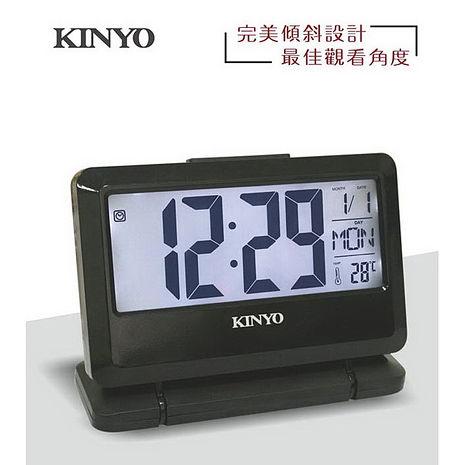 【KINYO】大字幕可傾斜LCD多功能電子鐘 TD-391