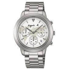 《agnes b.》經典世界地圖 時尚三眼計時腕錶-白(VD53-KQ00S/BT3018X1)