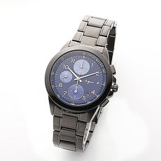 《agnes b.》靛藍夜空 時尚有型三眼計時腕錶-黑x藍/39mm (7T92-0LY0A/BF8329P1)