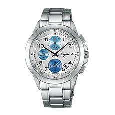【agnes b. 】蔚藍簡約法式三眼計時腕錶-白x藍圈/39mm(7T92-0LY0L/BF8328P1)