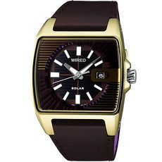 【ALBA】 WIRED HYBRIDSOLAR 質感典雅 方框時尚皮帶腕錶-咖/金 (V145-X013Q/AUA006X)
