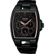 【ALBA】 WIRED HYBRID方型層次 三眼計時腕錶-黑 (V14J-0BA0SD/AGAD714)