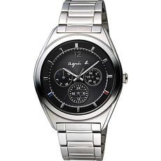【agnes b.】經典微綴法式三色太陽能日曆腕錶-黑x銀(V14J-0CG0D/BT5009P1)