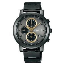 【agnes b.】 低調搶眼金圈三眼計時腕錶-黑x金 (7T92-0NL0K/BF8324P1)