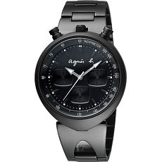 【agnes b.】惡魔雙耳造型三眼計時腕錶-黑 (VD55-KS00SD/BX9002X1)