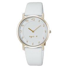 【agnes b.】極簡法式風格優雅時尚皮帶腕錶-白x金(7N00-0BH0W/BG4016P1)
