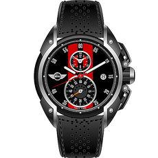 【MINI Swiss Watches】英倫風範運動計時腕錶-黑x紅(MINI-11)-APP限定