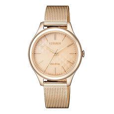 【CITIZEN星辰】純淨時光米蘭編織不鏽鋼時尚腕錶-玫瑰金/32mmEM0503-83X