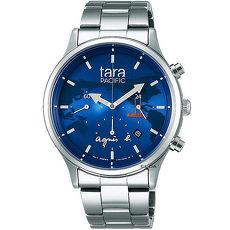 【agnes b.】TARA PACIFIC 海洋環保限定款-藍x銀/40mm