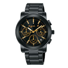 【agnes b.】 魅惑國度三眼計時腕錶-IP黑/香檳黃圈/38mm VD53-KP30G/BT3033X1