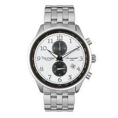 【TRIUMPH】凱旋經典銀白面‧黝黑雙眼計時鋼帶錶(3013-44)