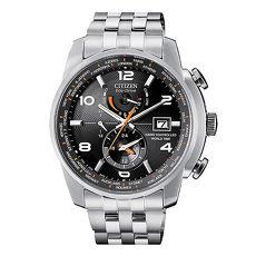 【CITIZEN星辰】 GENT'S 世界城市現量霸氣電波對時光動能時尚腕錶-銀X黑AT9010-52E