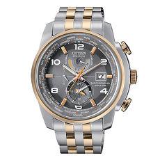 【CITIZEN星辰】 GENT'S 世界城市現量霸氣電波對時光動能時尚腕錶-玫瑰金X灰(AT9016-56H)
