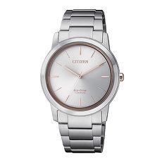 【CITIZEN 星辰】PAIR對錶系列Eco-Drive 簡約紳士品味光動能鈦金屬腕錶-銀X玫瑰金/34mmFE7024-84A