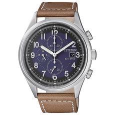 【CITIZEN 星辰】Chronograph 簡約率性沉穩計時皮帶腕錶-藍(CA0621-05L)