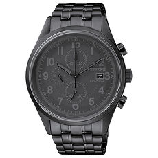 【CITIZEN 星辰】Chronograph 簡約率性沉穩計時腕錶-黑(CA0625-55E)