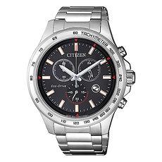 【CITIZEN 星辰】Chronograph 亞洲限定率性沉穩計時腕錶-黑X銀(AT2420-83E)