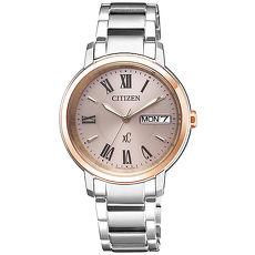 【CITIZEN 星辰】亞洲限定XC 甜美知性光動能計時女用腕錶-銀EW2424-50Y