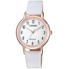 【CITIZEN 星辰】LADY'S 簡約純淨光動能腕錶-玫瑰金x白(EM0579-14A)