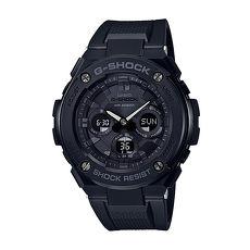【CASIO卡西歐】G-SHOCK G-STEEL 系列雙材質絕對強悍時尚雙顯運動錶-全黑GST-S300G-1A1