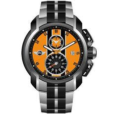 【MINI Swiss Watches】急速奔騰三眼計時腕錶-橘/45mm(MINI-38)-APP限定