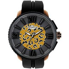 《MORRIS K 時尚豹紋休閒錶-黑x豹紋金/50mm