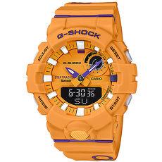 【CASIO 卡西歐】G-SHOCK 繽紛撞色指針運動錶-黃紫GBA-800DG-9A