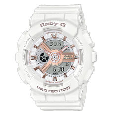 【CASIO 卡西歐】BABY-G 個性甜美雙顯女錶-白X玫瑰金 BA-110RG-7A
