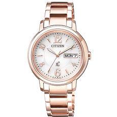 【CITIZEN 星辰】亞洲限定XC 甜美知性光動能計時女用腕錶-玫瑰金(EW2422-55A)