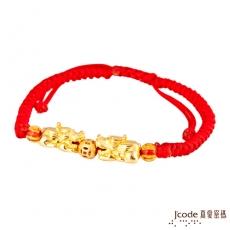 J'code真愛密碼 咬錢貔貅黃金手鍊-大/紅(預購)