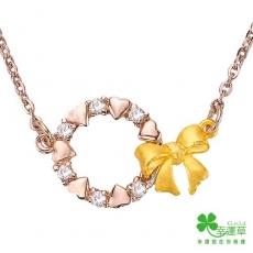 幸運草 甜蜜花圈 純金+白鋼項鍊(預購)