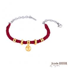 J'code真愛密碼 堅定之心(廣告款)黃金手鍊-紅編織蠟繩