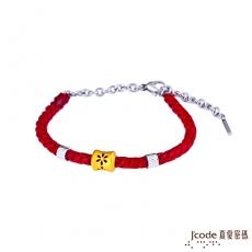 J'code真愛密碼 煙花黃金/純銀編織手鍊-紅